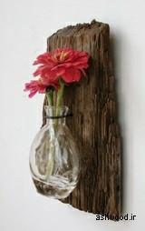 جای گلدان دیواری ساخته شده از تنه درخت