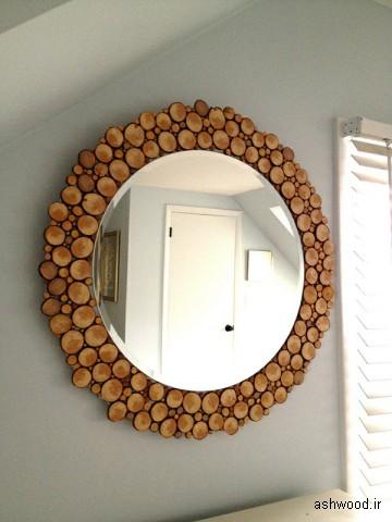 آینه گرد ساخته شده از شاخه درختان