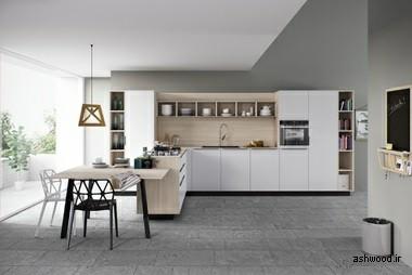 ایده سفید و چوبی برای آشپزخانه