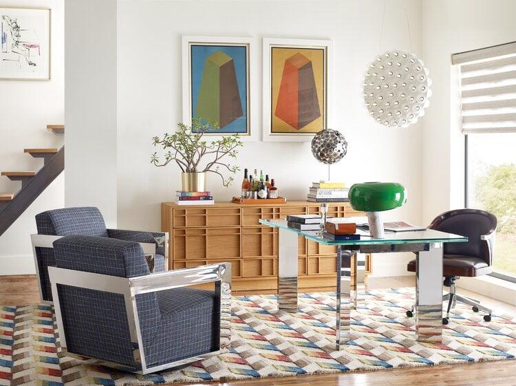 دیوار رنگی برای دفتر کار خانگی