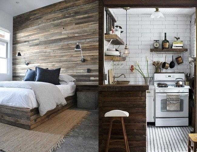 دیوار و پیشخوان چوبی