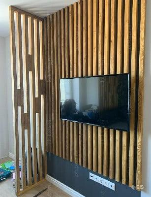 دکوراسیون دیوار تلویزیون و LCD لور چوبی دیوار تلویزیون