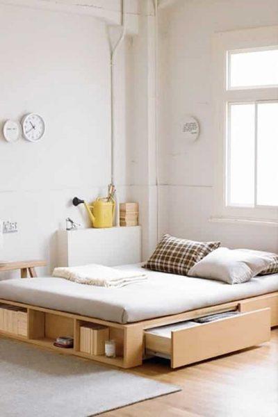 ذخیره سازی متنوع در تختخواب مدرن چوبی