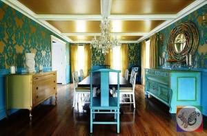 رنگ فیروزه ای در دکوراسیون اتاق ناهارخوری , دکوراسیون منزل