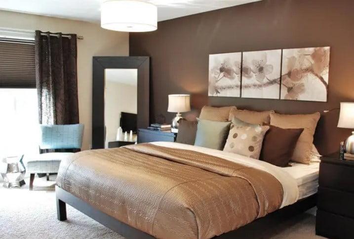 رنگ های قهوه ای رنگ اتاق خواب