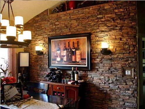 دیوار سنگی و آجری های قدیمی در سبک روستیک
