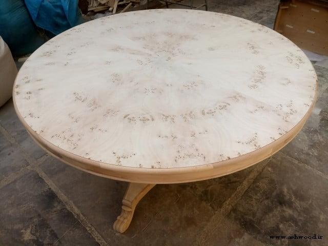 تصاویر ساخت میز گرد , میز گرد چوب روکش مازل و بلوط