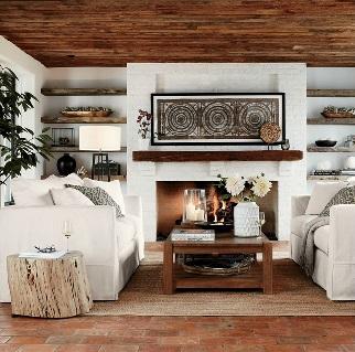 سبک روستیک چیست - اتاق نشیمن با عناصر ارگانیک