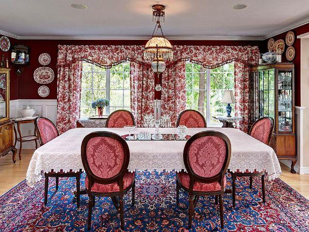 اتاق نشیمن سبک ویکتوریایی ، میز ناهارخوری سبک کلاسیک