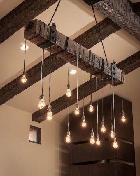 سقف و لوستر چوبی