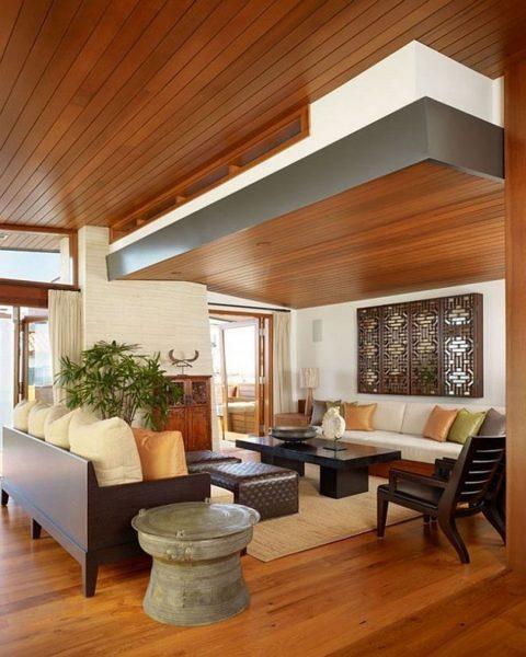 دکوراسیون چوبی با سقف چوبی
