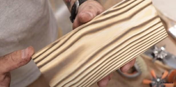 سندبلاست چوب با آتش , سندبلاست و رنگ چوب , موج برجسته چوب