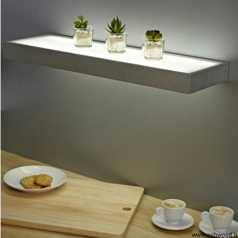 شلف دیواری چوبی با نورپردازی