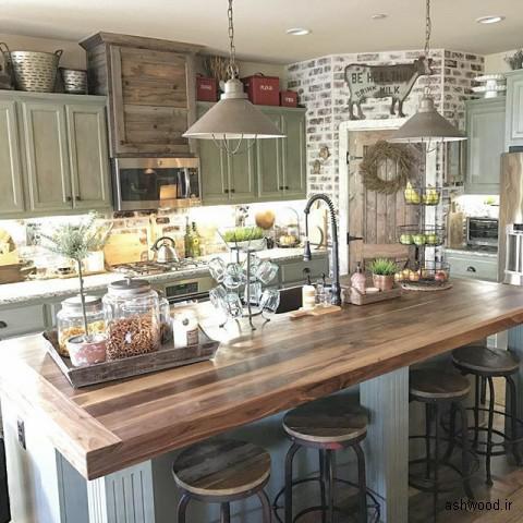 صفحه میز کابینت آشپزخانه سبک روستیک