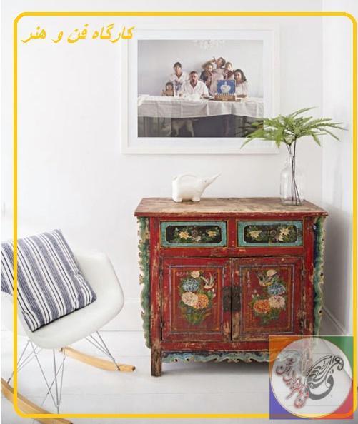 کنسول چوبی ، نقاشی و رنگکاری روی چوب ، قاب عکس چوبی