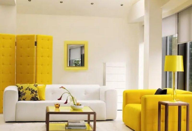 طراحی داخلی دو رنگ برای سالن کوچک