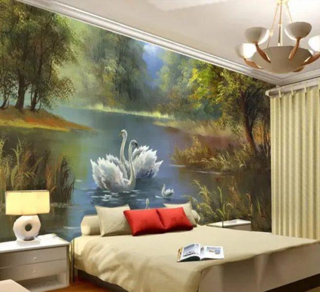 طراحی دیوار اتاق خواب با نقاشی