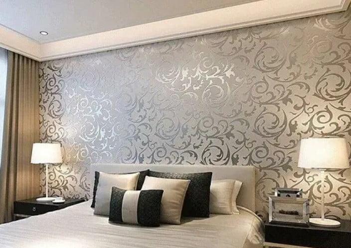 طراحی دیوار اتاق خواب با کاغذ دیواری