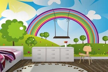 طراحی رنگین کمان دیوار اتاق خواب