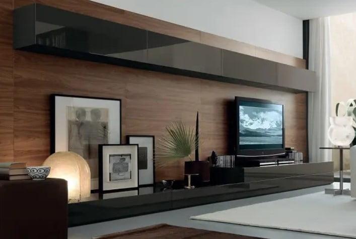 طراحی واحد دیواری چوبی برای تلویزیون