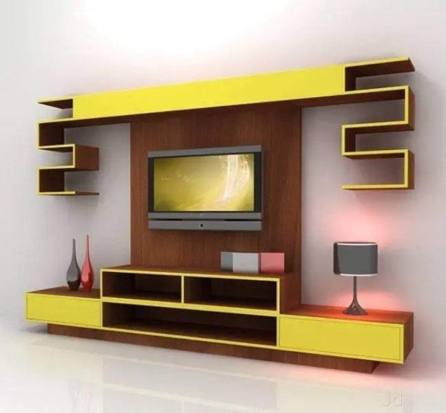 طراحی واحد دیواری چوبی برای سالن