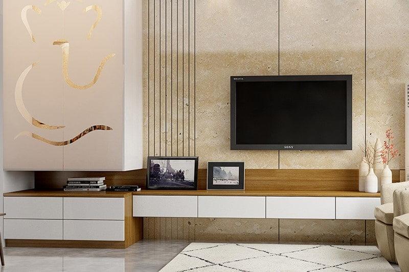 طراحی ویترین چوبی تلویزیون