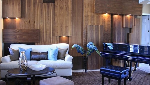 دیوارهای تابلویی چوبی در 15 طرح اتاق نشیمن