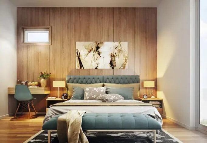 طرح دیوار اتاق خواب چند لایه چوبی