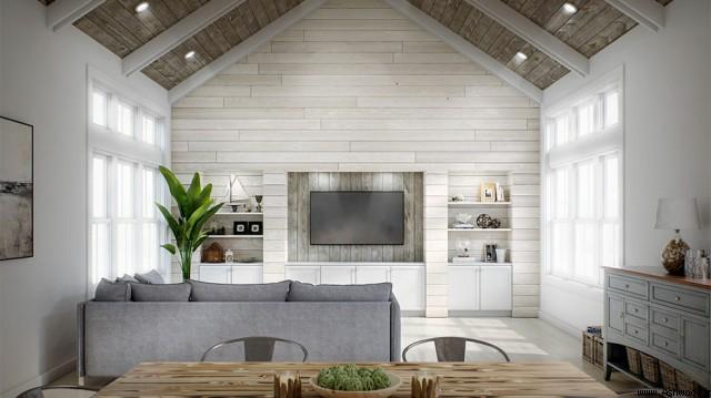 لمبه کوبی دیوار و سقف کاذب , نصب لمبه سبک روستیک , چوب سندبلاست وایت واش