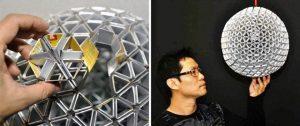 ایده ساخت لوازم دکوری و روشنایی در منزل , لوستر ها و جا چراغی های ساخته شده از مواد قابل بازیافت