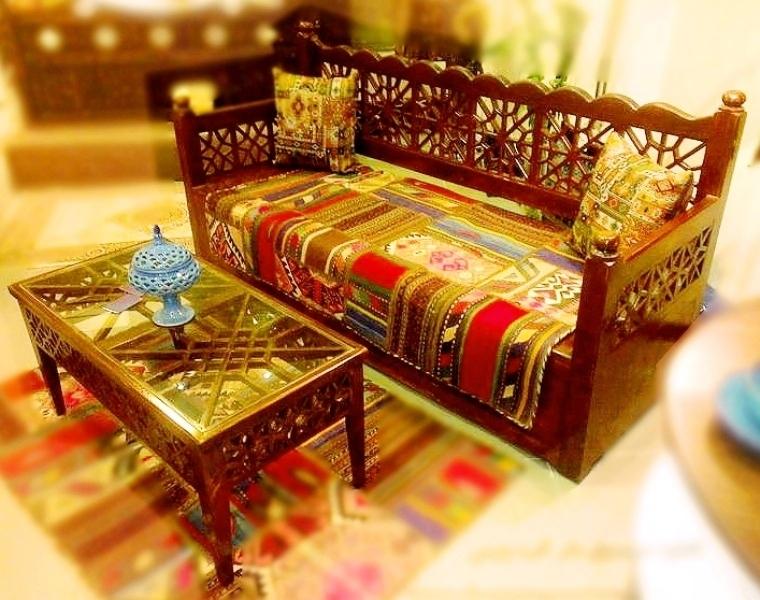 مبلمان سنتی چوبی تخت باغی 11
