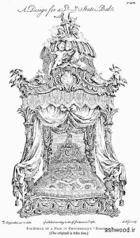 """تخت خواب , """"طرحی برای تختخواب دولت"""" از کارگردان ، 1762. چیپندیل"""