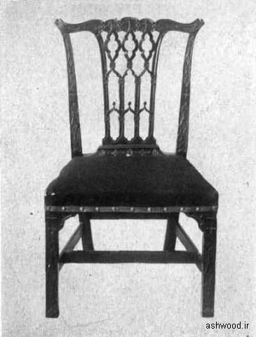 """صندلی چیپندیل سبک استانی با استادانه درست شده """"سبک گوتیک"""" تزئينات و نقش و نگار پنجره ای گوتیك میله تزئيني پشت صندلی تماس"""