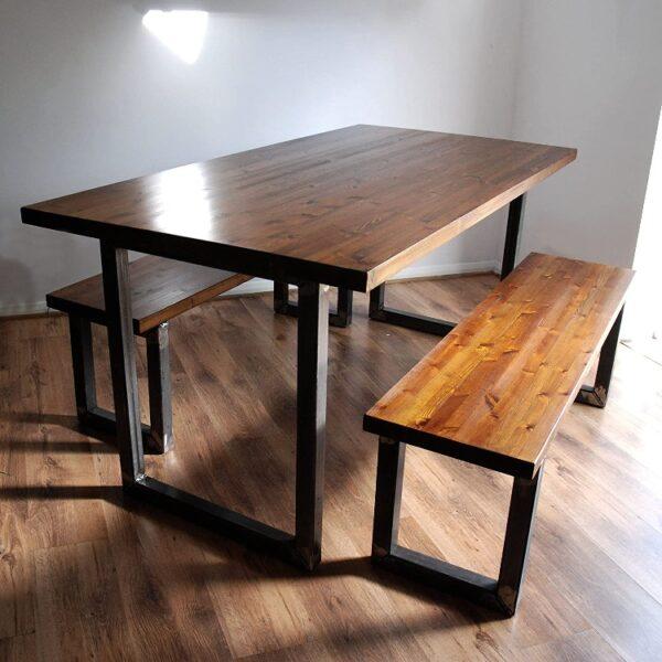 میز فلزی , میز فلزی با صفحه چوبی