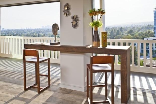 میز بار برای اطراف ستون , میز چوبی دور تا دور ستون