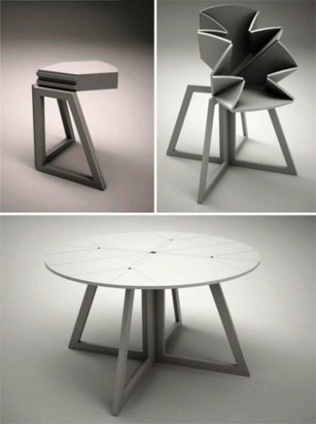 میز چوبی , میز تاشو مثلث دایره