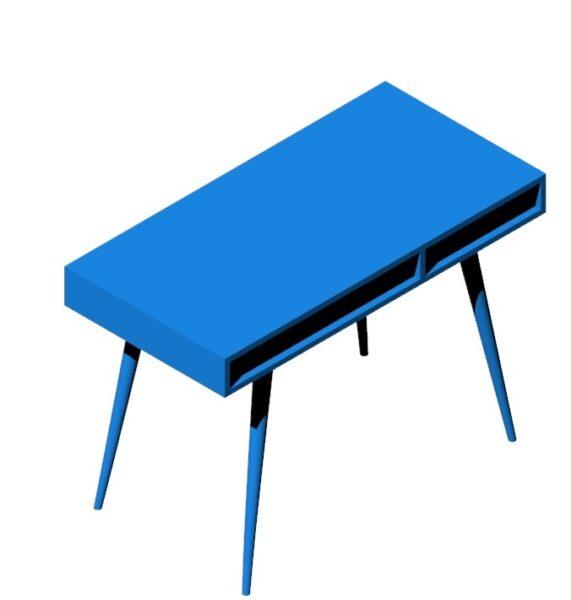 میز تحریر آبی رنگ ساخته شده از چوب و ام دی اف