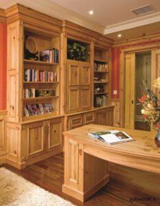 میز تحریر و کتابخانه چوبی , میز کار