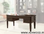 میز تحریر چوبی و کتابخانه