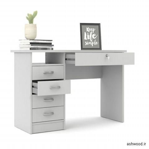میز تحریر سفید کشودار