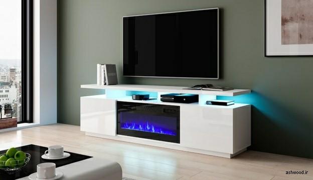 میز تلویزیون با شومینه برقی