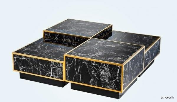 تصویر میز جلو مبلی تلفیق چوب و سنگ , ایده و مدل های دکوراسیون چوبی