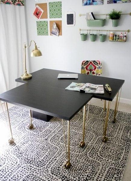میز مطالعه مشکی طلایی
