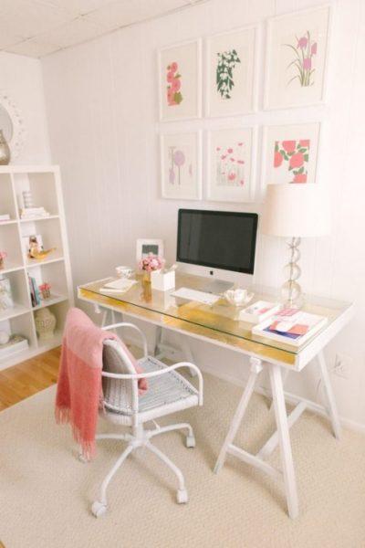 میز مطالعه چوبی و شیشه ای