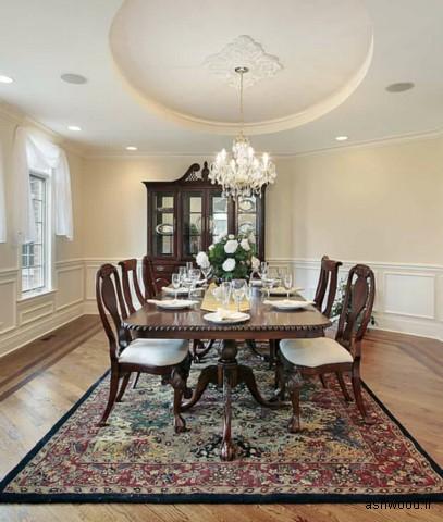 ایده های کاربردی برای فرش زیر میز ناهارخوری و مدل میز و دکوراسیون چوبی اتاق پذیرایی