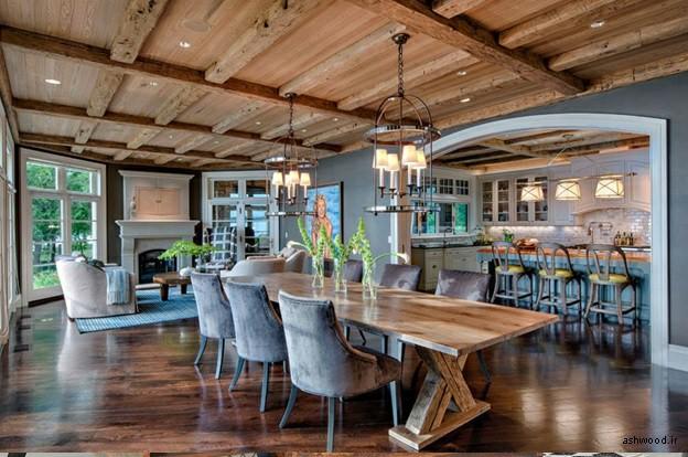 میز ناهارخوری دو پایه چوبی