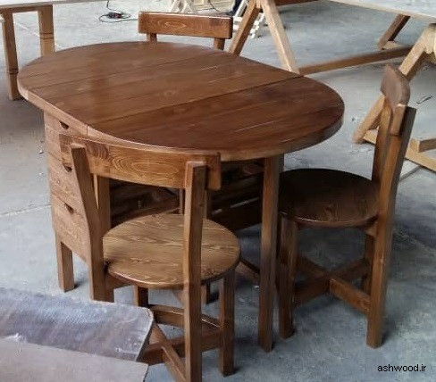 میز ناهار خوری ارزان قیمت, میز ناهار خوری گرد میز ناهارخوری تاشو با کشو و صفحه بزرگ شونده