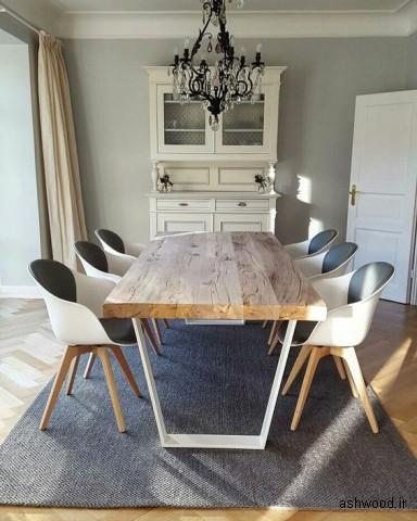 میز ناهارخوری صفحه تمام چوب و پایه فلزی