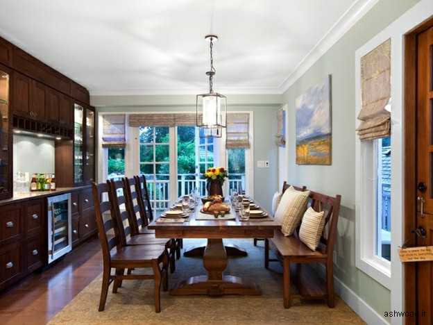 میز ناهارخوری دو پایه چوبی ,  ایده و مدل های جالب در دکوراسیون چوبی منزل