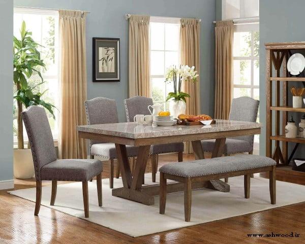 میز ناهارخوری چوبی 6 نفره تمام چوب با نیمکت چوبی